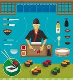 Insiemi del cuoco unico e delle pentole di sushi, Gunkan Maki Sushi Fotografia Stock Libera da Diritti