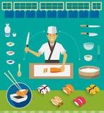 Insiemi del cuoco unico e delle pentole di sushi, sushi di Nigiri Fotografie Stock