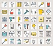 Insiemi dell'icona del bagno di colore riempiti profilo illustrazione di stock