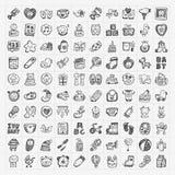 Insiemi dell'icona del bambino di scarabocchio illustrazione di stock