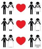 Insiemi dell'icona della sposa e dello sposo Immagine Stock Libera da Diritti