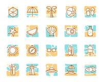 Insiemi dell'icona di feste di vacanze estive illustrazione vettoriale