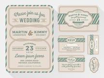 Insiemi dell'invito di nozze per la vostra progettazione adorabile ed amichevole di celebrazione royalty illustrazione gratis