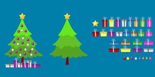 Insiemi della decorazione e del regalo dell'albero di Natale fotografie stock libere da diritti