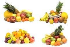 Insiemi della frutta su bianco Immagine Stock