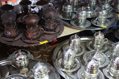 Insiemi di caffè turco tradizionali immagini stock