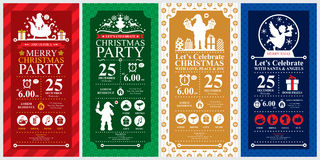 Insiemi di carta dell'invito della festa di Natale Fotografia Stock