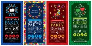Insiemi di carta dell'invito della festa di Natale Fotografie Stock Libere da Diritti