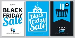 Insiemi di carta neri di vendita di venerdì illustrazione vettoriale