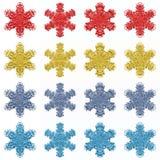 4 insiemi di 4 fiocchi di neve isolati Fotografie Stock