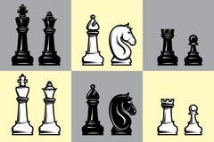 Insiemi di scacchi in bianco e nero con la parte della scacchiera Immagine Stock