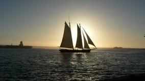 Insiemi di Sun sulla barca a vela Fotografia Stock