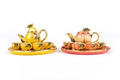 Insiemi di tè a forma di della frutta mini Fotografia Stock Libera da Diritti