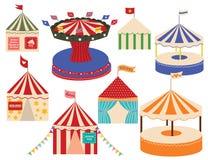 Insiemi differenti di grandi parti superiori del circo. illustrazione di stock