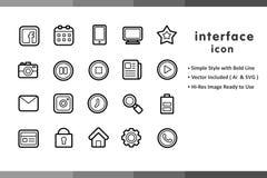 Insiemi lineari dell'icona per il sito Web Fotografia Stock