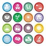 Insiemi rotondi dell'icona di biotecnologia illustrazione di stock