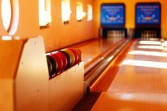 Insight into bowling hall prepared for the players. Royalty Free Stock Photo