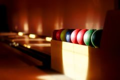 Insight into bowling hall prepared for the players. Royalty Free Stock Photography