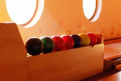 Insight into bowling hall prepared for the players. Stock Image