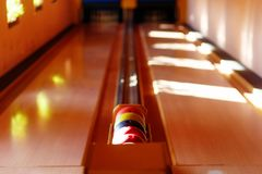 Insight into bowling hall prepared for the players. Stock Photos