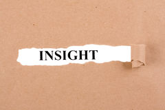 Insight Concept. Word Insight appearing behind torn brown paper Stock Photos