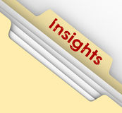 Insight Ideas Communication Information Analysis Manila File Fol. Insight word on a manila folder tab to illustrate analysis of information in a file breaking Royalty Free Stock Photography