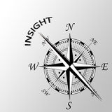 Insight written aside compass. Illustration of word insight written aside compass Royalty Free Stock Photography