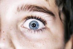 An insightful beautiful look  boy`s blue eye Stock Images