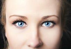 Insightful look on a blue eyes Stock Photos