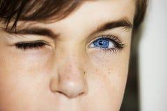 Insightful look blue eyes boy Royalty Free Stock Photos