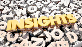 Insights Findings Intelligence Word Letters Stock Image