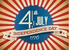 Insigne/affiche de Jour de la Déclaration d'Indépendance de vecteur Photo stock