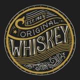 Insigne américain de whiskey de vintage Label alcoolique avec les éléments calligraphiques Lettrage gravé tiré par la main de cro illustration de vecteur