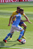 Insigne in Arsenal-Napoli. Image of Lorenzo Insigne, new talented striker playing for Napoli, during the match Arsenal-Napoli for the Emirates Cup 2013, played royalty free stock image