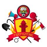 Insigne avec les articles de lutte contre l'incendie Équipement de lutte anti-incendie illustration de vecteur