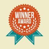 Insigne classique de récompense de gagnant de vintage photos libres de droits