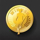 Insigne courant d'or de gagnant Le dossier illustration stock