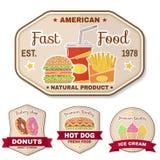 Insigne d'aliments de préparation rapide de vintage, bannière ou emblème de logo illustration libre de droits