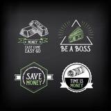 Insigne d'argent et conception de logo Texte de citation Vecteur avec le graphique Images libres de droits