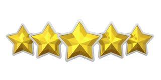 Insigne d'or de cinq étoiles d'isolement illustration de vecteur