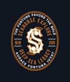Insigne d'or d'hippocampe comme lettre S Images libres de droits