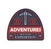 Insigne d'isolement par vintage d'expédition de montagne illustration libre de droits