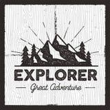 Insigne de camping d'envie de voyager Graphiques tirés par la main d'habillement d'impression de T-shirt de vieille école Rétro c illustration stock