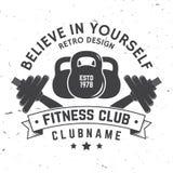 Insigne de centre de fitness Croyez en vous-même Illustration de vecteur Photographie stock libre de droits