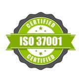 Insigne de certificat de norme d'OIN 37001 - gestion s d'Anti-corruption Images stock