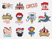 Insigne de cirque de carnaval Harlequin avec des animaux clown et éléphant, crème glacée, foyer magique dans la tente funster de  illustration libre de droits