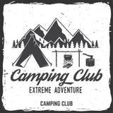 Insigne de club de camping Illustration de vecteur Concept pour la chemise ou la copie, le timbre, l'insigne de voyage ou la pièc Images stock