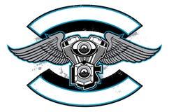 Insigne de club de motocyclette avec le moteur et les ailes illustration stock