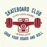 Insigne de club de planche à roulettes Illustration de vecteur Image stock