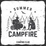 Insigne de feu de camp d'été Illustration de vecteur Concept pour la chemise ou la copie, le timbre, l'insigne de voyage ou la pi Photographie stock libre de droits